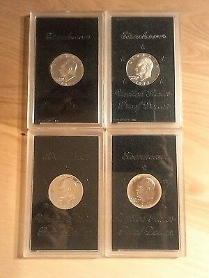 Lot Of 4 Eisenhower Proof Silver Dollars 1971S 1972S 1973S 1974S No brown boxes