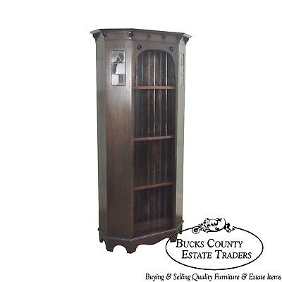 Arts & Crafts Antique Oak Bookcase with Leaded Glass Panels