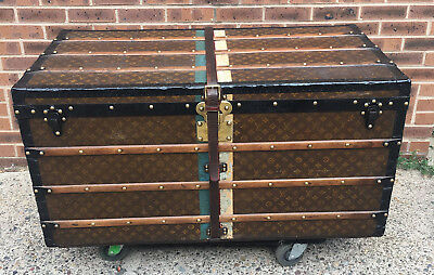 LOUIS VUITTON  Antique Monogram Steamer TRUNK with Red Green and White Stripes