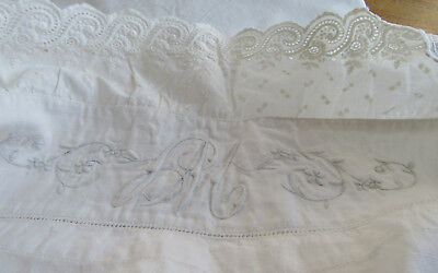 Antique Embroidered Fine Linen Sheet Trousseau 80 by 91 French Monogram