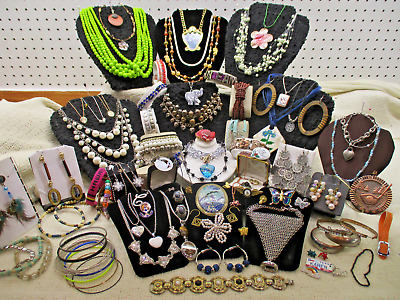Vtg To Modern Massive 95 Piece Assorted Mixed Estate Costume Jewelry Lot Lb A37