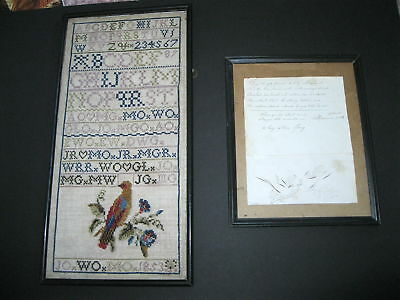2 Items-Nr!-Charming Signed/dated Providence Schoolgirl Penmanship And Sampler