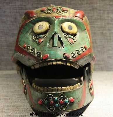 Tibet Old Copper Inlay Turquoise Shell Coral Ruby Gem Monkey Skull Skeleton Head