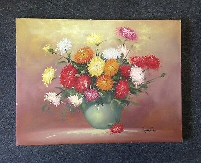 Vintage Painting Signed Robert Cox Floral Bouquet Unframed Pretty