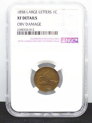 1858 1C Large Letters Flying Eagle Cent Penny NGC XF Details Rare Type