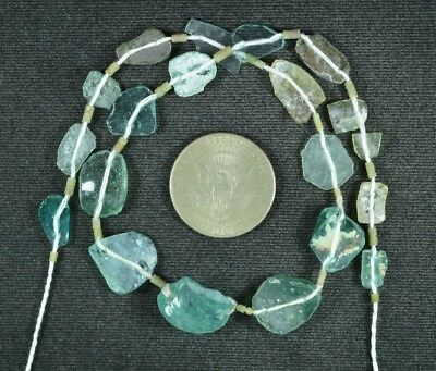 Ancient Roman Glass Beads 1 Medium Strand Aqua And Green 100 -200 Bc 886