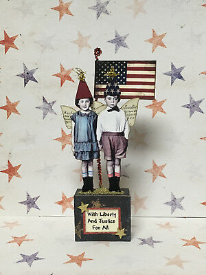 altered art fairy miniature paper pixie 4th of July mixed media vtg look