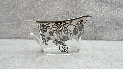 ANTIQUE 1920's ORNATE STERLING OVERLAY FRUIT BERRY GLASS CREAMER PITCHER