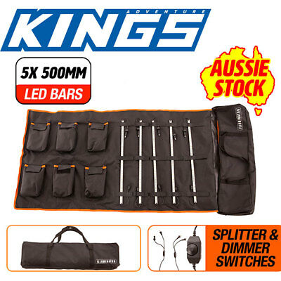 5x 12V LED Bar Camping Light Kit Dimmer Switches Splitter Cables 19m Ext Cable