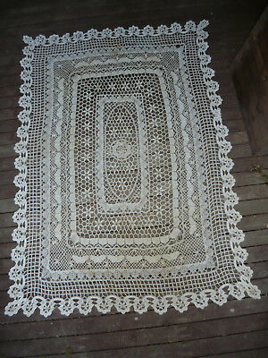 Crochet Butterfly Vintage Tablecloth Large Woven Lace Table Cloth - Bed Throw