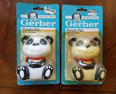 Vintage 1991 GERBER Panda Pal Squeeze Toy RARE - New in Package - lot of 2