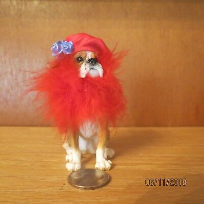 """Bulldog Dressed for Red Hat Society Purple Rose and Red Hat & Boa 3 1/4"""""""