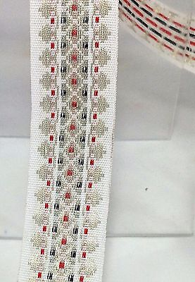 2.4 cms wide Woven ribbon trimming braid White with gold red and green