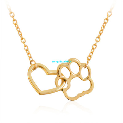 New Simple Dog Pet Lover Dog Cat Paw Print Love Heart Pendant Necklace Chain