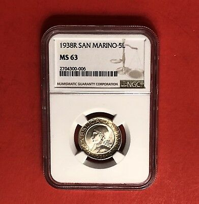 San Marino-1938R ,unc 5 Lire Silver Coin,certified By Ngc Ms 63 .