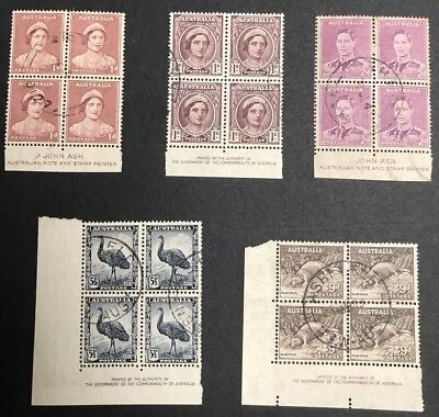 AUSTRALIA PRE DECIMAL KGV1 SERIES IMPRINT BLOCKS USED x 5