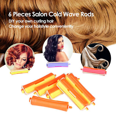 6 Pieces Salon Cold Wave Rods Hairdressing Styling Tool for Girls Women Hair DIY