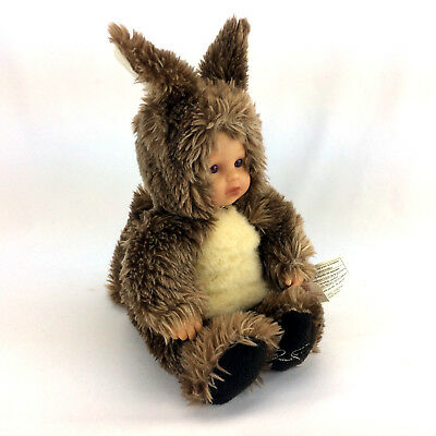 "Anne Geddes Doll Plush Baby In Squirrel Costume Plastic Head & Hands 10"" Sitting"