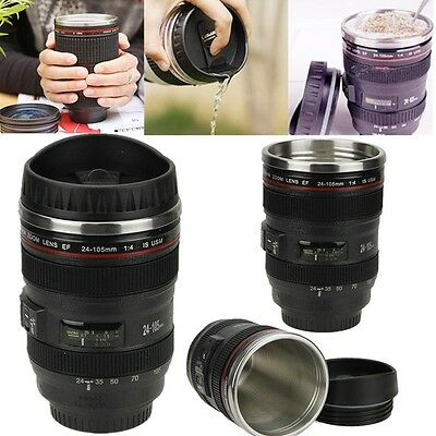 24-105mm Stainless Lens Thermos Camera Travel Coffee Tea Mug Cup 400ml