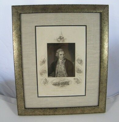 Framed Captain James Cook Picture From The Original Engraving By Nathaniel Dance