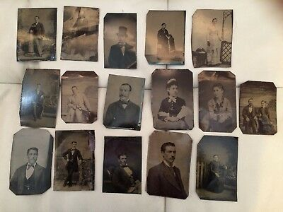 ANTIQUE PHOTOS ON METAL  - bulk lot of 16