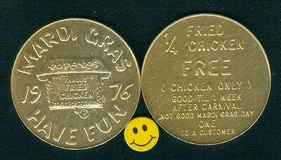 1976 Popeye - Famous Fried Chicken - Good For Advertizing - Mardi Gras Doubloon