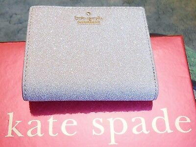 NWT Kate Spade Burgess Court Glitter Adalyn Small Bifold Wallet Silver NEW