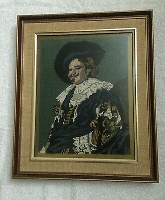 Vintgage Tapestry Completed 1970's Framed Laughing Cavalier