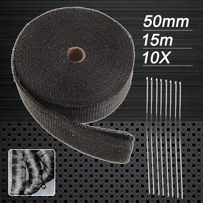 New Au Local Wrap 50mm X 15m + 10 Stainless Steel Ties 2000f Black Exhaust Heat