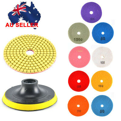 "AU 9pcs Diamond Polishing Pads 4"" Grinding Disc For Granite Marble Concrete New"