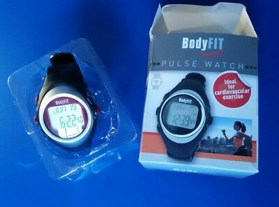 BodyFit Pulse Monitor Watch Black Red Unisex Fitness Running Health Boxed