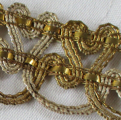 Vintage Gold & Silver Metallic Rococo Corded Trim Open Weave  French