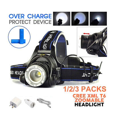 35000LM Zoomable LED Headlamp Rechargeable Headlight T6 Head Torch CREE XML