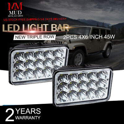 "2pcs 4X6"" LED Headlights Hi/Lo Light Bulbs Crystal Clear Sealed Beam Headlamp"