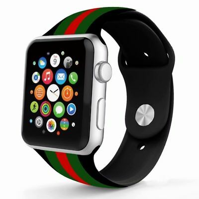 New Black/red/green Silicone Gucci Pattern Replacement Band For Apple Watch 42Mm