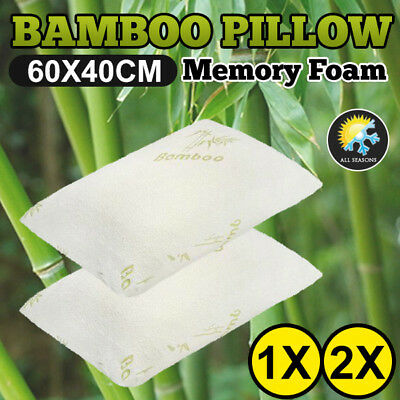 60 x 40cm Luxury Bamboo Memory Foam Pillow Fabric Fibre Cover Contour 1x 2x