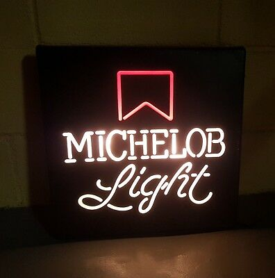 """Vintage Michelob Light 18""""x18"""" Square Lighted Box Beer Sign Bar Man Cave Mancave"""