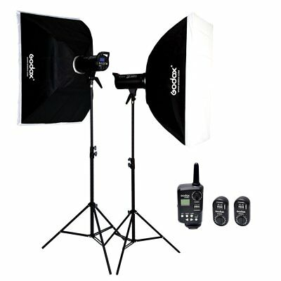 2X Godox DE300II 300W Flash Strobe Light Head 60x90cm Softbox Kit W/ FT-16 220V