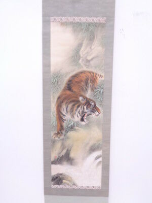 3606401: Japanese Wall Hanging Scroll / Hand Painted / Wild Tiger