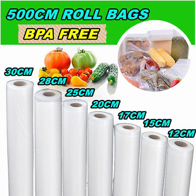 Vacuum Food Sealer Saver Seal Bag Storage Rolls Commercial Heat Grade 5 Size