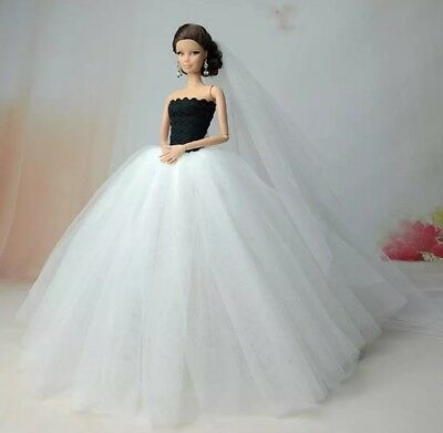 New Barbie doll clothes outfit princess wedding gown dress white fluffy