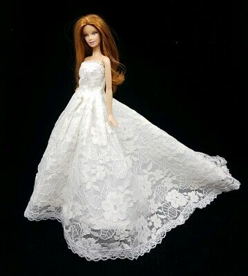 New Barbie doll clothes outfit princess wedding gown dress white lace and shoes