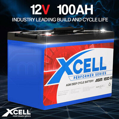 【EXTRA 10%OFF】X-Cell 100Ah AGM Battery Deep Cycle 12v Marine Solar Camping