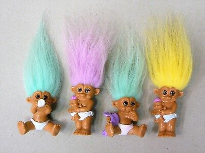 Vintage Troll Dolls - Collection of 4 Baby Trolls in Nappies