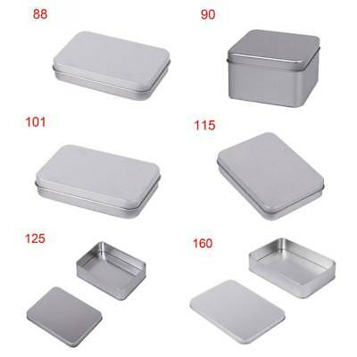 Small Metal Tin Storage Box Case Organizer Silver For Badge Money Coin Candy Key