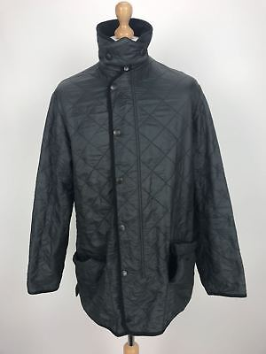 Barbour Mens D311 Polarquilt Quilted Long Country Jacket Coat Large L Black