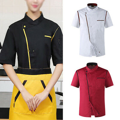 New Unisex Chef Coat Summer Restaurant Working Uniform Breathable Cook Clothes