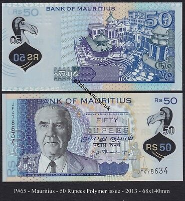 P#65  MAURITIUS   50 Rupees POLYMER ISSUE 2013 > 100% CRISP & UNCIRCULATED