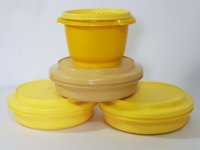 vintage yellow Tupperware lidded containers x 4