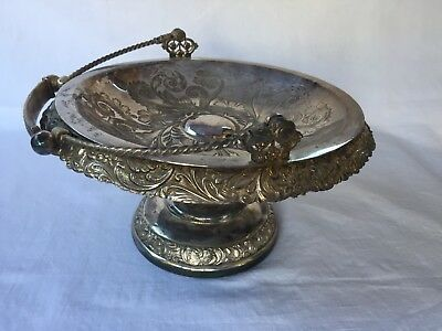 USA Rogers Bros.Embossed Silver Plate Fruit Pastries Stand Prop Styling High Tea